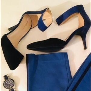 Shoes - Black & Royal Blue Suede Heels Size 10 Pumps
